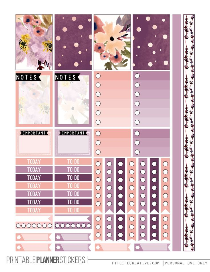 Perfectly Purple Free Happy Planner Printable Sticker set.  Includes two pages of purple floral planner stickers that are not only beautiful but also fully functional.