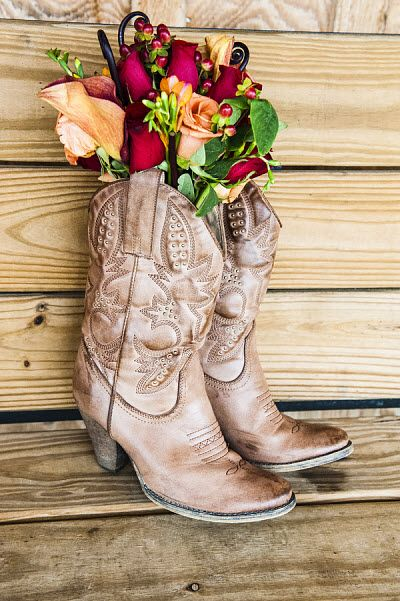 bridesmaid dresses with cowgirl boots | Cowboy Wedding: It's All About the Boots