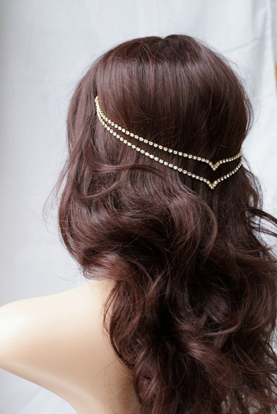 Head chain - Crystal Hair Jewellery - Wedding accessory - Gold Hair Chain - modern Bridal Hair Accessory