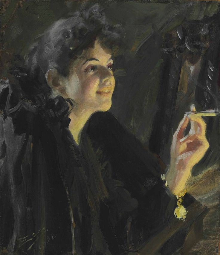 "ANDERS ZORN The Cigarette Girl Oil on Canvas 20.875"" x 18.125"""