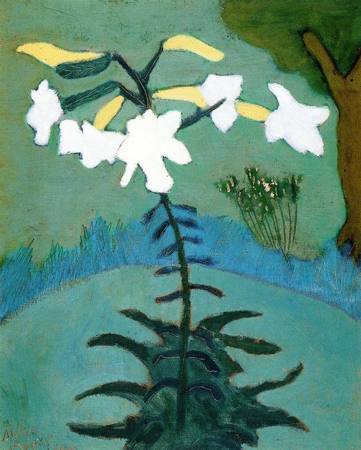 """ Milton Avery (1885-1965) Lilies (1949) oil on canvasboard 51 x 40.6 cm """