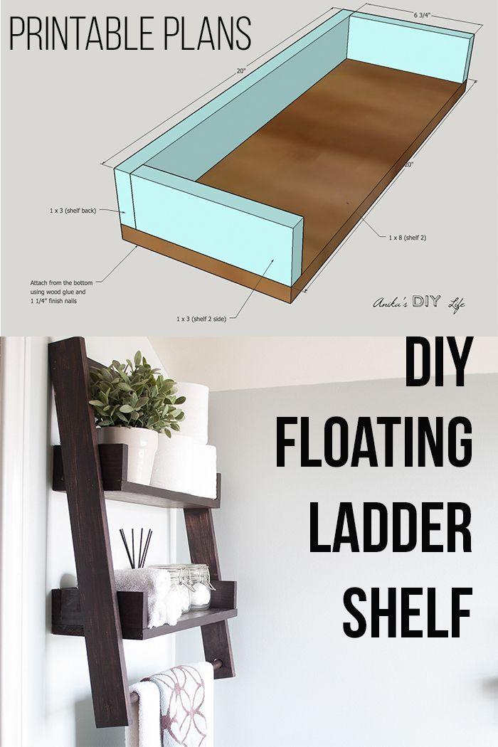Diy Floating Ladder Shelf With Plans Floating Shelves Diy Diy