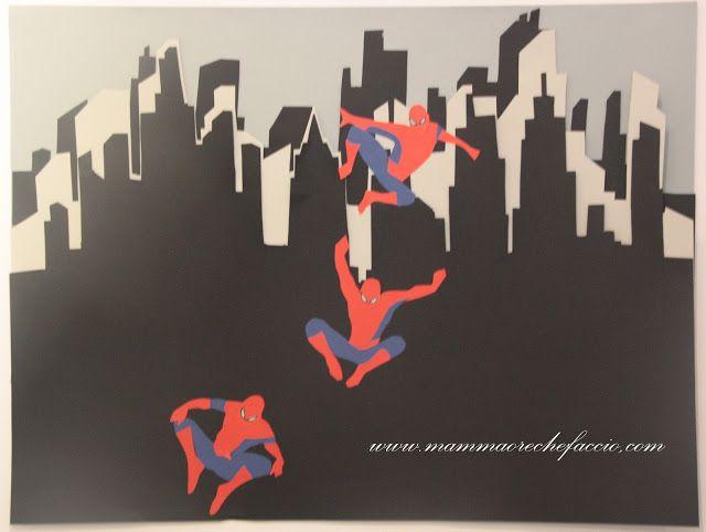 Festa a tema Spiderman; cartellone realizzato con collage