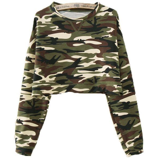 Army Green Camouflage Long Sleeve T-Shirt ($13) ❤ liked on Polyvore featuring tops, t-shirts, shirts, sweaters, sweatshirt, jackets, green, long-sleeve shirt, long sleeve t shirt and camo long sleeve shirt