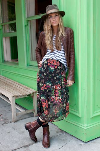 : Bohemian Stripes, Floral Skirts, Floral Prints, Long Skirts Outfits Winter, Mixed Prints Outfits, Leather Jackets, Patterns Mixed, Boho Babes, Boots And Skirts