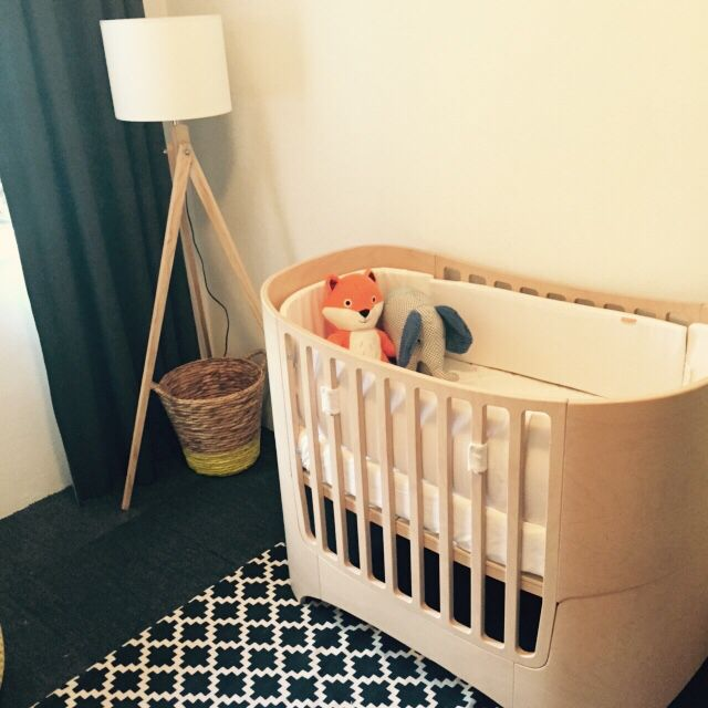 Black, White, Grey And Yellow Nursery. Leander Cot.