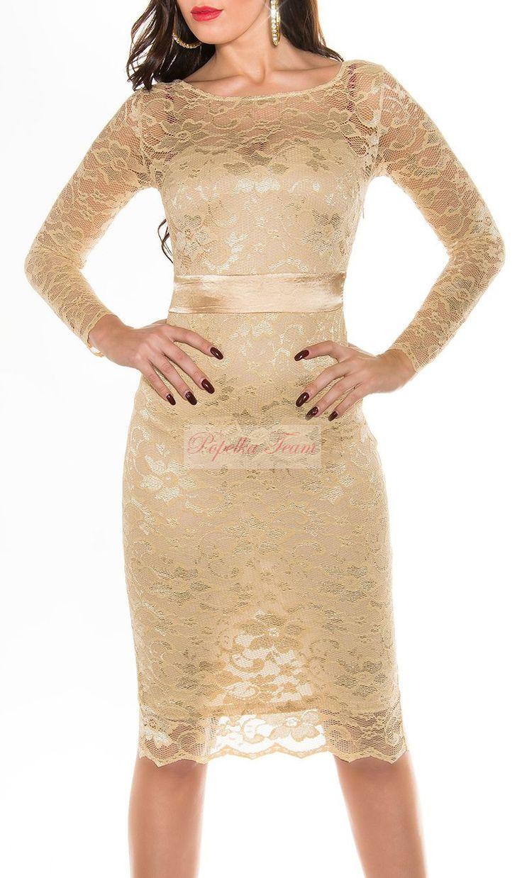 Krajkové zlato- krémové šaty. Materiál elestický již od velikosti XS - XXL  Rychlé dodání