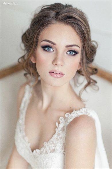 Leger Gelockt Halboffen Hochzeitsfrisur Hochzeitsstyling