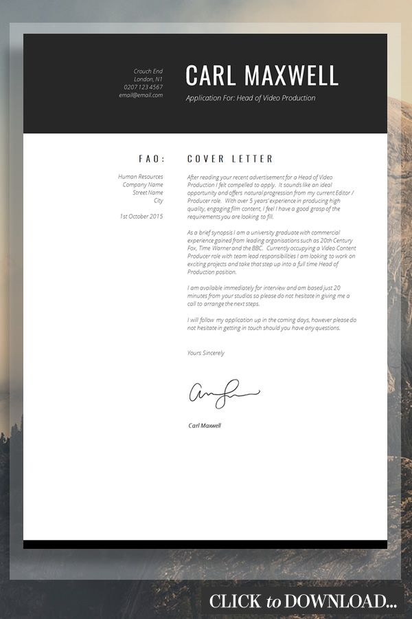 Modern Resume Template | CV Template | Resume Advice | Cover ...