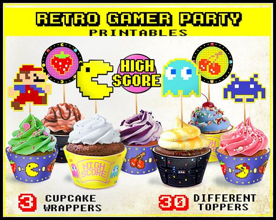 Retro Arcade Game cupcake toppers and wrappers, Gamer party, 80s party, Printable 80s Nintendo Gameboy Pacman Mario Zelda Spce Invaders