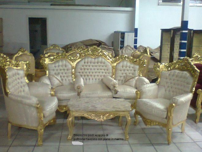 Salotto in stile barocco composto da 1 divano tre posti - Salotto con divano blu ...
