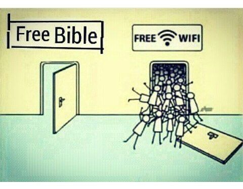 This is an example of Juvanlian Satire; everyone wants the free internet, but no one wants to learn about God. Being a Catholic, I enjoy learning more about God than playing iPhone games. The values of this Satire is that free wifi is coveted in society. I was upset by how true this image is because technology is taking over. The goal is to show how the world is turning their backs away from God in return for the worship of the iPhone .