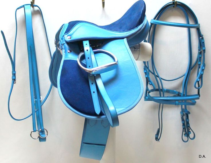 10 Quot Baby Blue Leather And Suede 6 Piece English Saddle Set