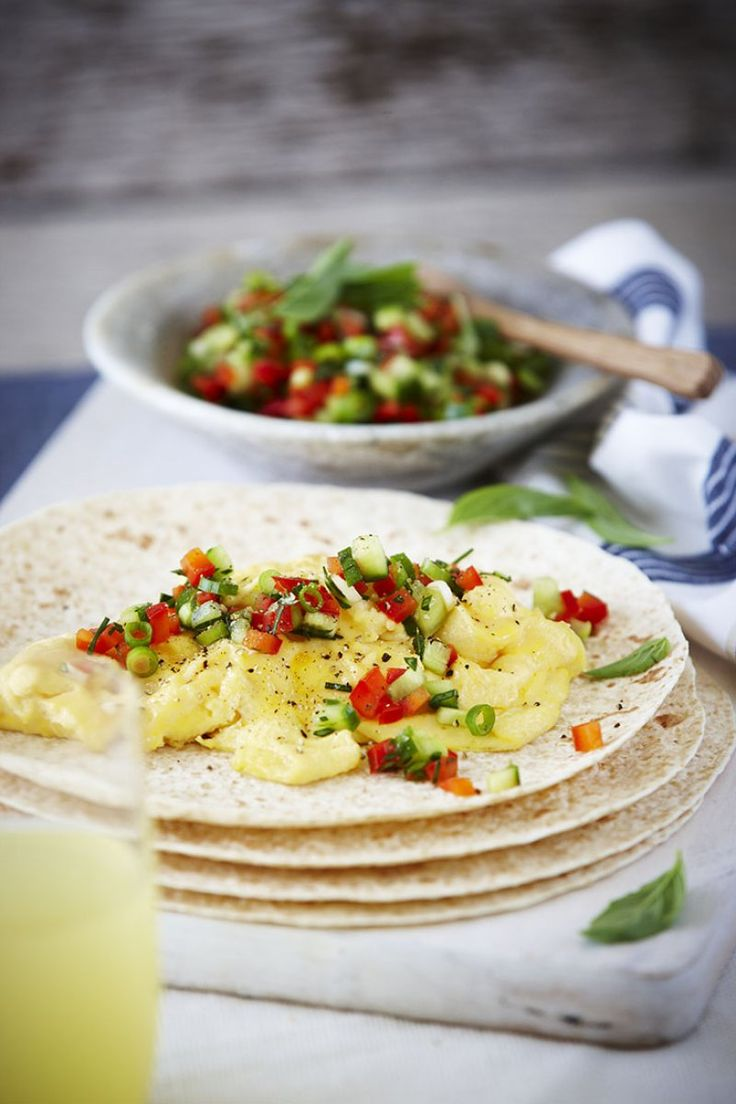 Scrambled egg wraps with cucumber salsa