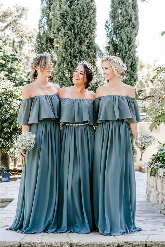 c4bce2b58 Boho off the shoulder bridesmaid dress, Abigail, from Revelry looks  stunning in shades of eucalyptus, pink, blush, dusty blue, and Burgundy for  any season ...