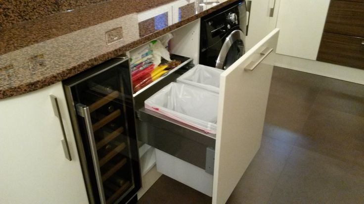 pull out bin cabinet example from Claire and John's recent kitchen installation. your cabinet height would be smaller than this but the same width