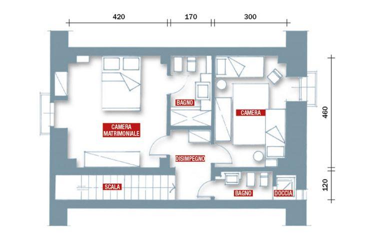 Il piano superiore si articola in due camere da letto e due bagni.