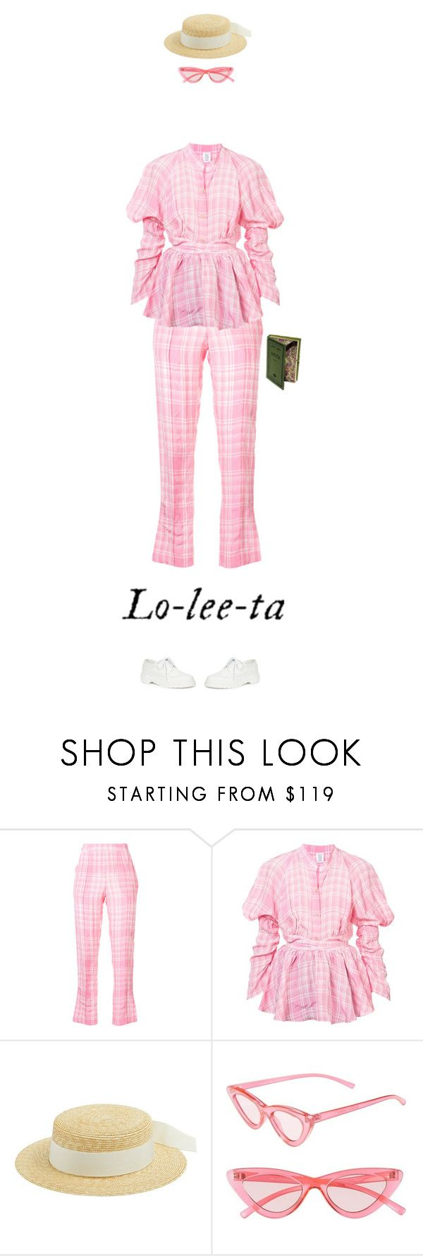 """""""Lolita"""" by andreearaiciu ❤ liked on Polyvore featuring Rosie Assoulin, Federica Moretti, Le Specs, Dr. Martens and Olympia Le-Tan"""