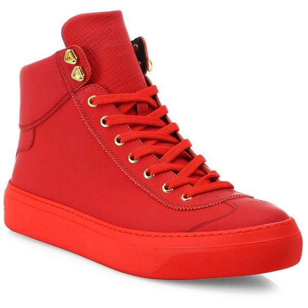 Jimmy Choo Calf Leather High-Top Sneakers ($730) ❤ liked on Polyvore featuring men's fashion, men's shoes, men's sneakers, apparel & accessories, russian red, mens red sneakers, mens metallic gold sneakers, mens metallic shoes, mens lace up shoes and mens high top shoes