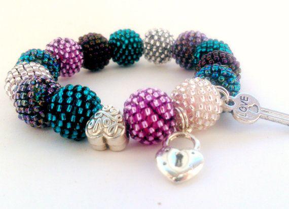 Beaded Love Bracelet  Toho  Crochet  Bead  by DeerestJewelry