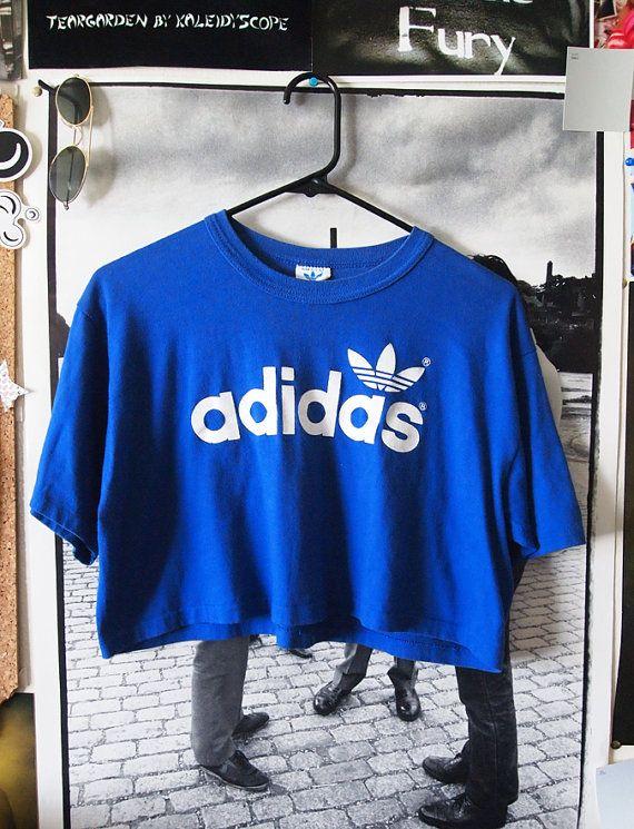 ADIDAS// Vintage 80s Royal Blue Adidas Crop Top by lessthanzero