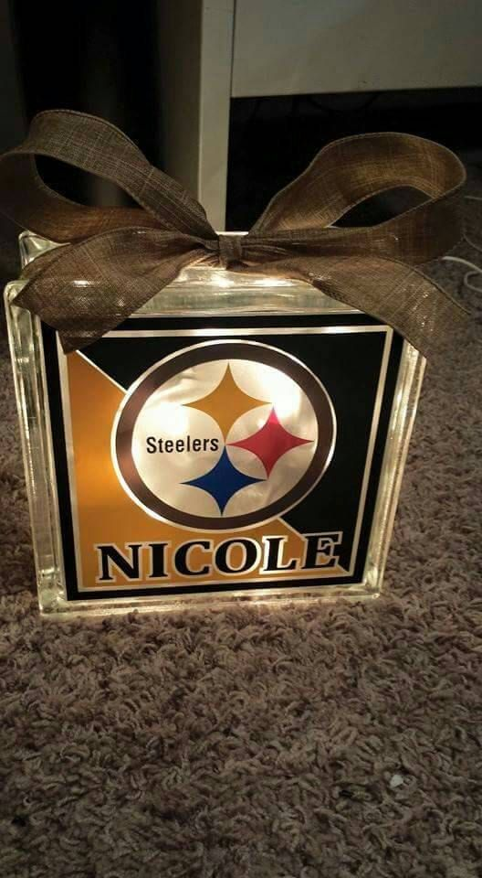 Check out this item in my Etsy shop https://www.etsy.com/listing/265592465/personalized-8x8-steelers-lighted-glass