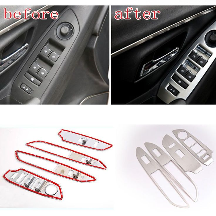 4pcs Stainless Steel Car Inner Door Armrest Window Lift Switch Panel Cover Moulding Sticker Fit for 2013 -15 Chevrolet Trax