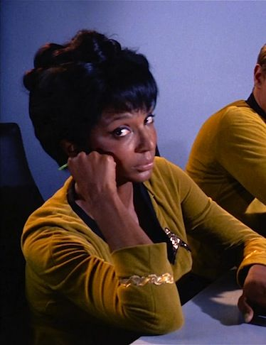 Uhura - The Corbomite Maneuver. Apparently they had a problem at the ship's laundry that day...