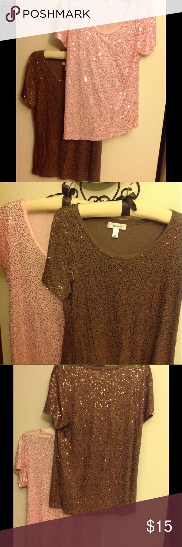 2 New Dress Barn Short Sleeve Sequin Tops Sz Large 2 New Dress Barn Short Sleeve Casual Sequin Tops Size Large Pink & Brown Dress Barn Tops