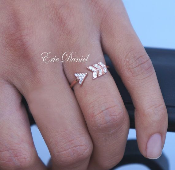 Rose Gold Arrow Ring w/ CZ 24k Plated Sterling Silver, Open Arrow, CZ Arrow, CZ Ring, Gold Arrow, Midi Arrow, Arrow Jewelry, Rose Arrow