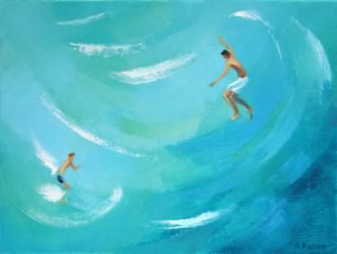 "Saatchi Art Artist Agnieszka Kozień; Painting, ""The leaping boys 2"" #art"