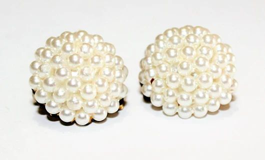Faux Pearl Cluster Clip On Earrings c1960s Wedding