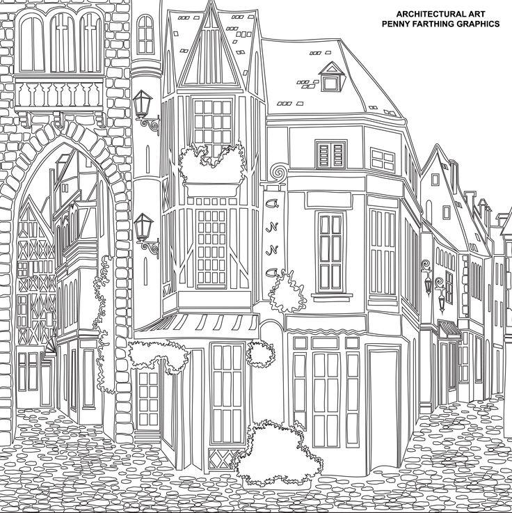 One Of The Buildings From Architectural Art Adult Coloring PagesColoring BooksThe BuildingCityscapesPenny