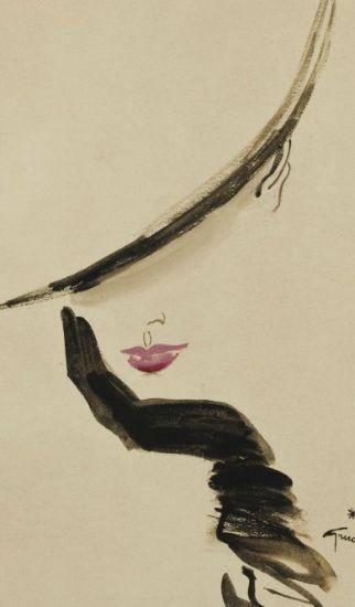Illustration by René Gruau (1909-2004), Élégante. I love his simple, yet elegant style.. it makes me happy and dreamy :)