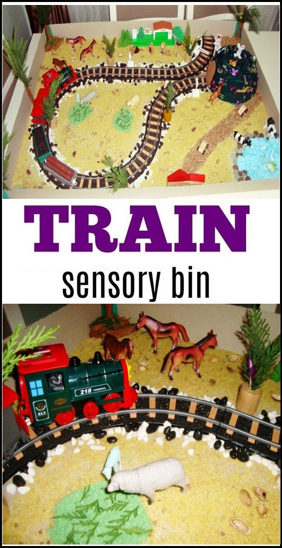 Fun and easy train sensory bins for toddlers and