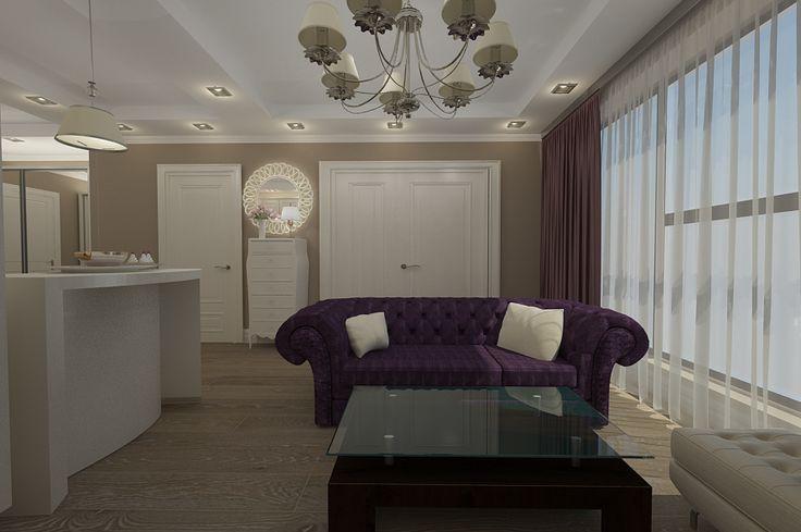 Design interior new clasic de lux realizat pentru apartament open space in Constanta.Proiectare mobilier living import Italia.