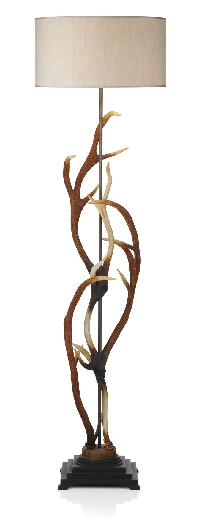 David Hunt ANT4929 Antler Floor Lamp complete with Cream shade.