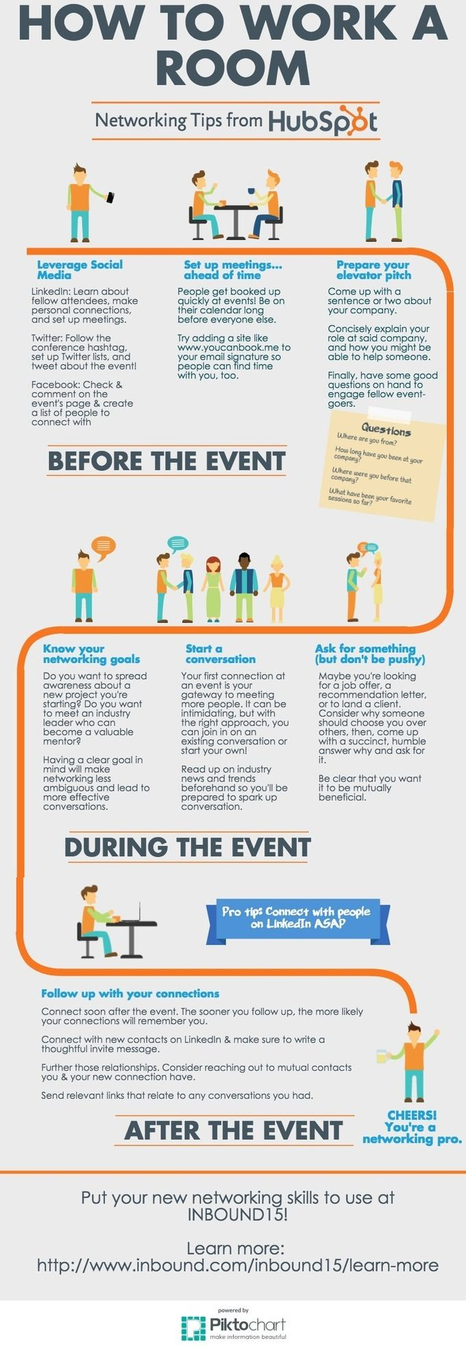 Elegant How To Work A Room: Networking Tips From HubSpot [Infographic]