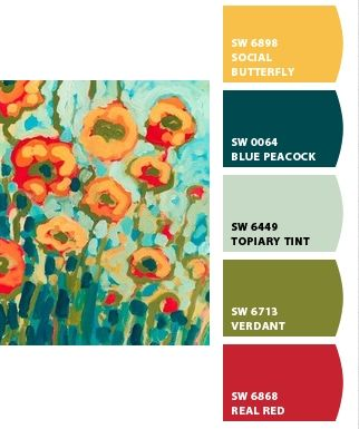 ROOMS: Paint Chip App- Teal green and red