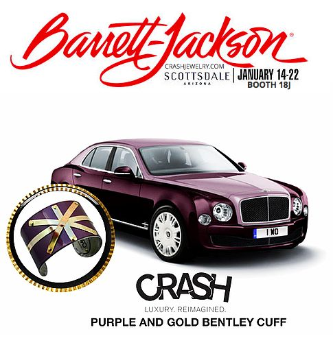 """www.crashjewelry.com  Our Purple and #Gold Bentley #cuff is made of steel from the fender of a #purple #Bentley. The Bentley Flying Spur has been described as """"modest, nonchalant and understated as well as #athletic and aggressive."""" We are thrilled to have metal from this #beautiful luxury car painted an exotic purple color. We added a sunburst motif made from gold-filled decorative bands to make this piece truly unique."""