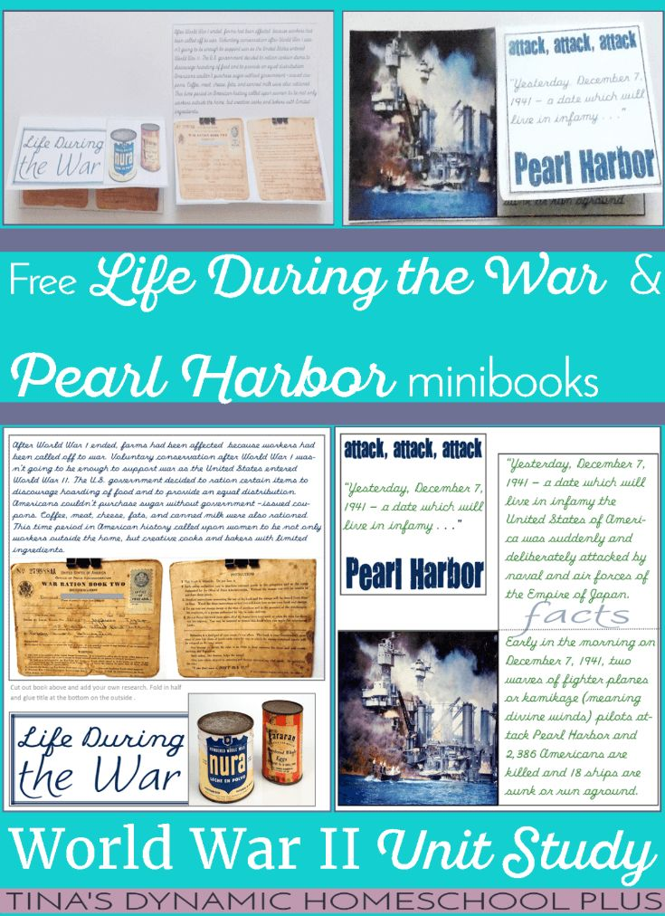Making ration cakes wasn't the only activity we have done to study about the affects of rationing during our World War II homeschool history unit study. The other thing I did was to use something unique we have in our family to help Tiny understand what his great-grandparents went through during wartime. Grab these free minibooks: Life During the War & Pearl Harbor   Tina's Dynamic Homeschool Plus.