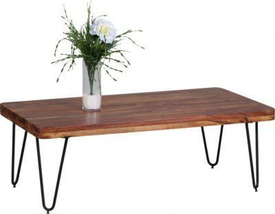 Wohnling WOHNLING Couchtisch BAGLI Massiv Holz Sheesham 115 Cm Breit  Wohnzimmer Tisch Design Metallbeine