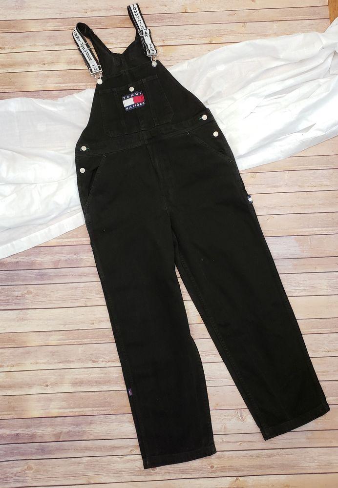 1045f86857 Vintage 90s Mens Tommy Hilfiger Black Overalls Big Spell Out Logo Size  Medium  TommyHilfiger  Overalls
