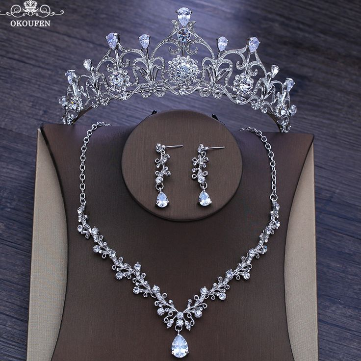Luxury Diamond Tiaras Silver Women Jewelry Set With Crowns Necklace Earrings 201…