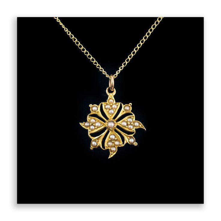 Seed Pearl Flower Pendant 9Ct Gold - Antique Pearl Necklace, 9Ct Gold Chain, Vintage Pendants, Antique Pearl Necklace, by HelenasCurio on Etsy