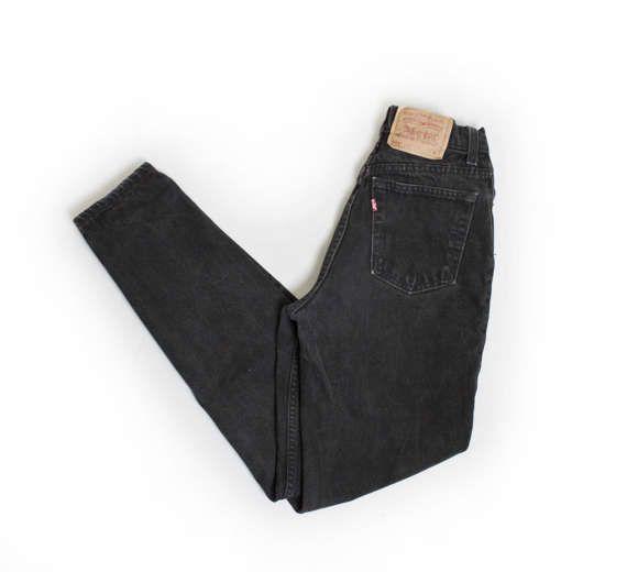 Vintage Levi's 512 JEANS  Black Denim Slim by dejavintageboutique