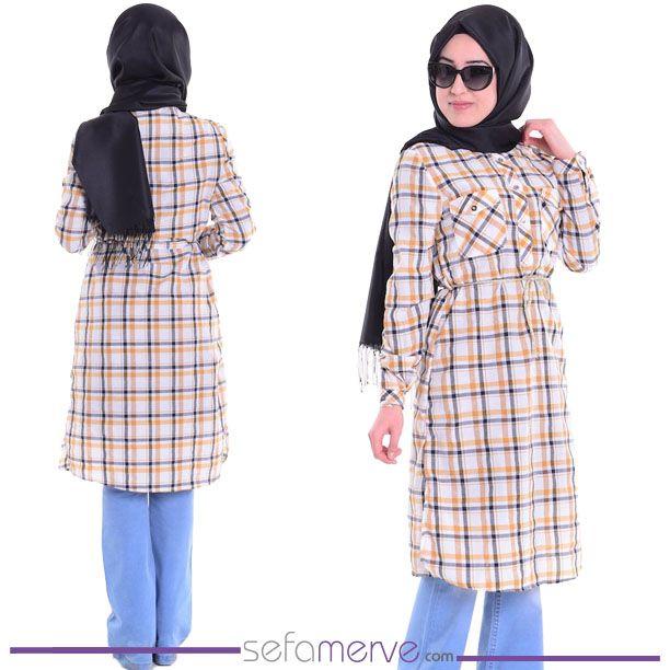 Ekoseli Tunik 4016-03 Hardal... 32.90 TL #sefamerve #tesetturgiyim #tesettur #hijab #tesettür