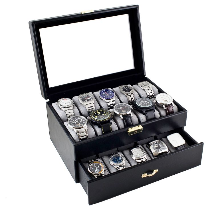 Caddy Bay Collection Black Leatherette 20 Watch Storage Box Case | Overstock.com Shopping - The Best Deals on Watch Boxes