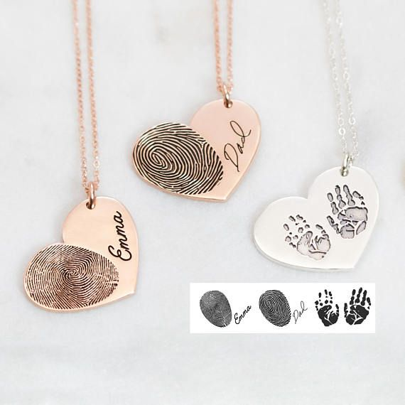 Actual Fingerprint Necklace • Engraved FingerPrint Handwriting Jewelry • Custom Heart Charm • MEMORIAL NECKLACE • Personalized Gift • NM32