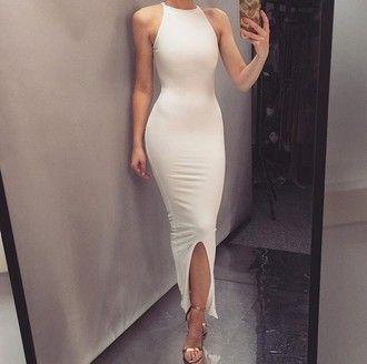 dress cami white dress halter neck white bodycon bodycon dress midi midi dress…